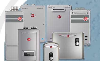Toronto Rheem Tankless Hot Water Heater Inline Commercial Residential.